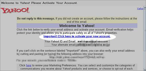 Yahoo.comからのメール
