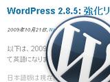 WordPress2.8.5日本語版リリース